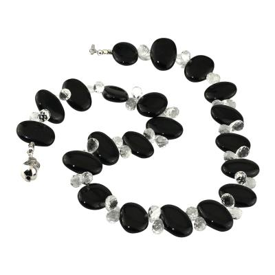 Gemjunky Stunningly elegant 23 Inch Black Onyx and Quartz Crystal Necklace