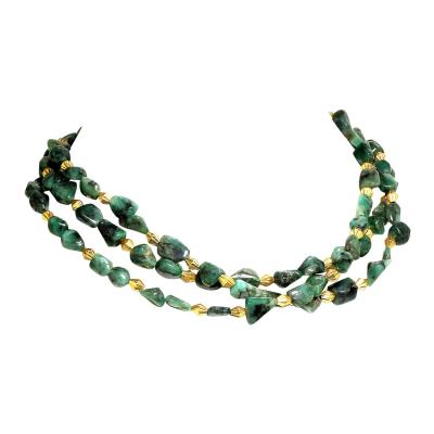 Gemjunky Three strand Emerald Nugget Necklace with Goldy Accents