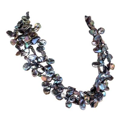 Gemjunky Three strand Peacock color Pearls Choker necklace