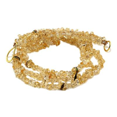 Gemjunky Three strand necklace of Citrine with Crystal Accents