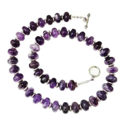 Gemjunky Translucent Rondelles of Amethyst Necklace February Birthstone