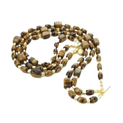 Gemjunky Triple Strand Chatoyant Tigers Eye Necklace