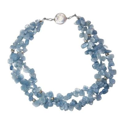 Gemjunky Triple Strand Necklace of Polished Aquamarine Chips