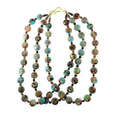 Gemjunky Triple strand Desert Jasper and Smoky Quartz Necklace