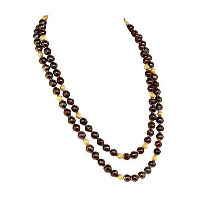 Gemjunky Two strand Iridescent Mauve Pearl necklace with Goldy accents