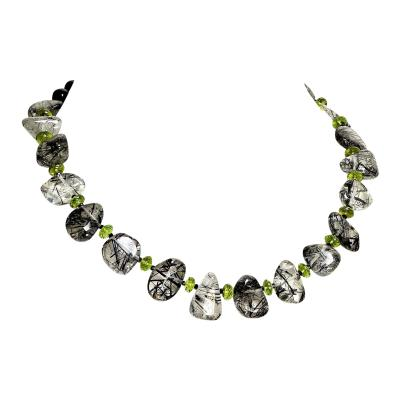 Gemjunky Unique 17 inch necklace of Tourmalinated Quartz and Green Peridot