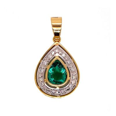 Gemjunky Unique Chic Pendant of Green Quartz Diamonds Yellow White Gold