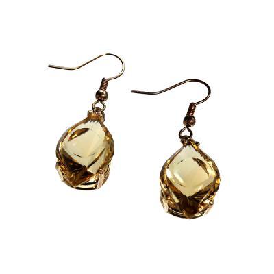 Gemjunky Unique Fancy Cut Golden Citrine Earrings in 14K Yellow Gold