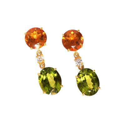Gemjunky earrings of Sparkling Peridot and goldy orange Citrine