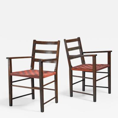 Gemla Axel Larsson Pair of Webbed Armchairs for Gemla Sweden 1930s