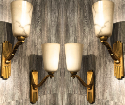 Genet Michon exceptional quality gold bronze and alabaster 4 sconces