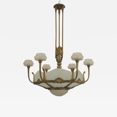 Genet et Michon French Art Deco Gilded Bronze 6 Sided Frosted New Glass Chandelier