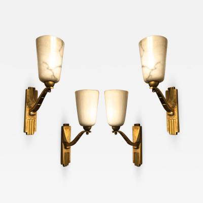 Genet et Michon Genet Michon exceptional quality gold bronze and alabaster 4 sconces