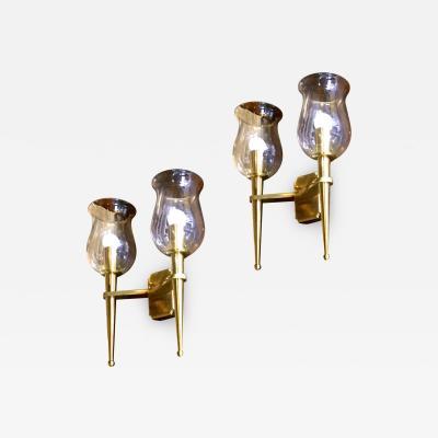 Genet et Michon Genet et Michon Extreme Quality Pair Solid Gold Bronze Sconces