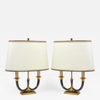 Genet et Michon Pair of Faceted Bronze Lamps France 1950s
