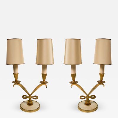 Genet et Michon Pair of Gilt Bronze Art Deco Lamps
