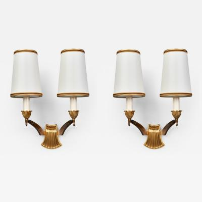 Genet et Michon Pair of Scalloped Bronze Sconces by Genet Michon France 1950s