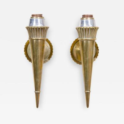 Genet et Michon Pair of Vintage Bronze Sconces Attributed to Genet and Michon France 1950s