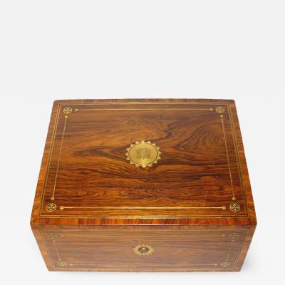 Gentlemans brass Inlaid rosewood Dressing Case