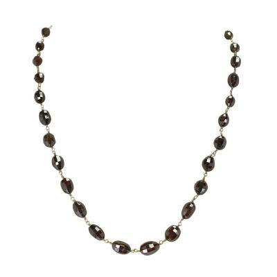 Genuine Brown Diamond Drum Shape Beads Wire Wrapped Necklace 18 Karat Yellow