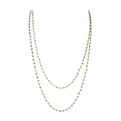 Genuine Champagne Diamond Beads Wire Wrapped Necklace 18 Karat Yellow