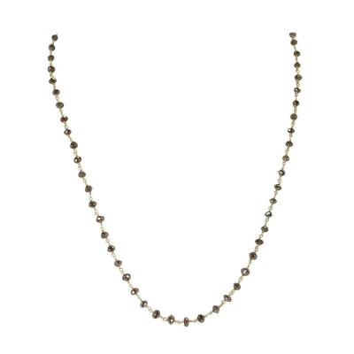 Genuine Champagne Diamond Beads Wire Wrapped Necklace 18 Karat Yellow Gold