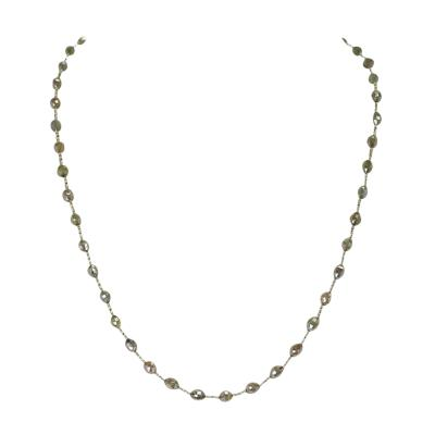 Genuine Fancy and Multi Color Diamond Drum Shape Beads Wire Wrapped Necklace