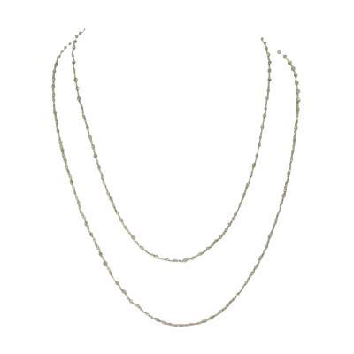 Genuine Gray Diamond Beads Wire Wrapped Necklace 18 Karat White