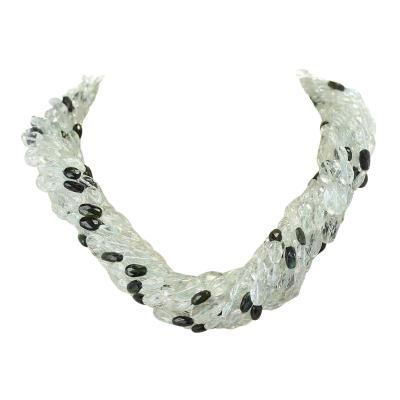 Genuine Natural Aquamarine Faceted Tumbled Bead Tourmaline Choker Necklace