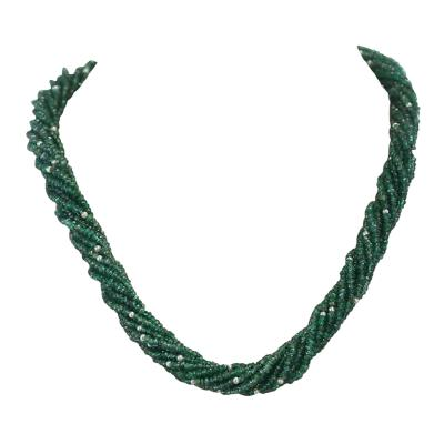 Genuine Natural Faceted Green Emerald Beads with Pearls Choker Necklace 18K