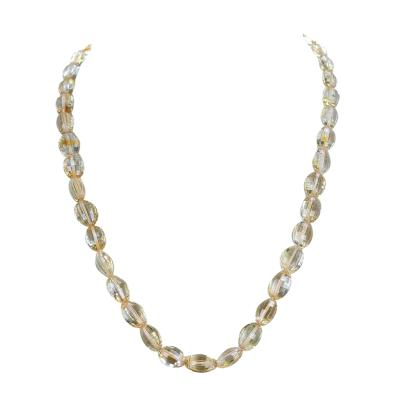 Genuine Natural Fine Oval Citrine Faceted Beads Necklace