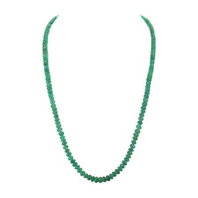 Genuine Natural Fine Strand of Emerald Plain Beads Necklace 14 Karat Gold