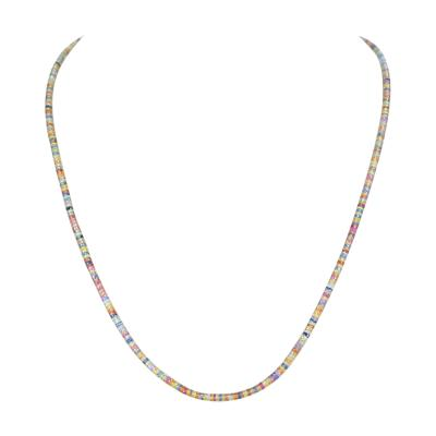 Genuine Natural Multi Sapphire Disc Shaped Beads Necklace
