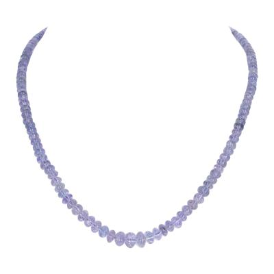 Genuine Tanzanite Smooth Beads Necklace Toggle Clasp