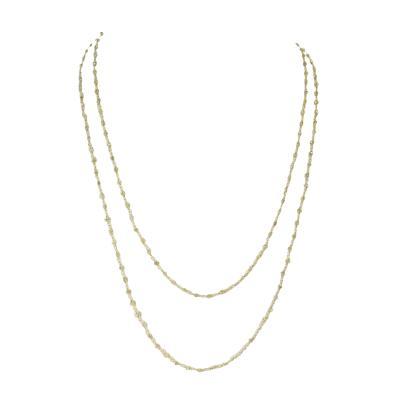 Genuine Yellow Diamond Beads Wire Wrapped Necklace 18 Karat Yellow