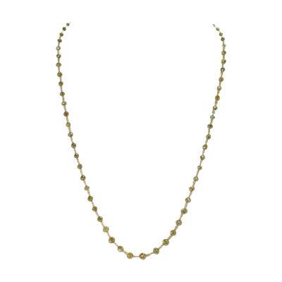 Genuine Yellow with Greenish Hue Diamond Beads Wire Wrapped Necklace 18 Karat