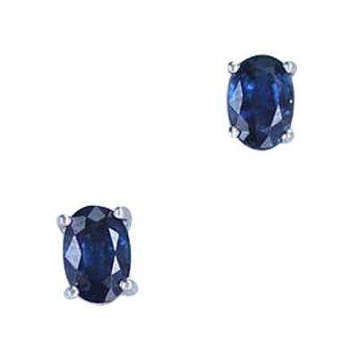 Genuine and Natural Blue Sapphire Oval Stud Earrings 18 Karat White Gold