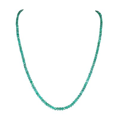 Genuine and Natural Emerald Faceted Beads Necklace 14 Karat Yellow Gold