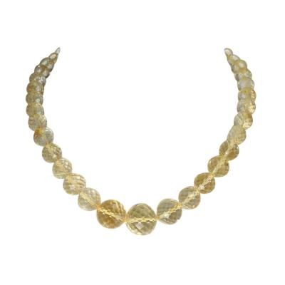 Genuine and Natural Large Citrine Round Faceted Beads Necklace