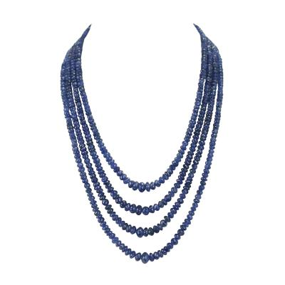 Genuine and Natural Necklace of Fine Blue Sapphire Faceted Beads