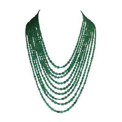 Genuine and Natural Smooth Emerald Small Tumbled Beads Necklace 9 Lines