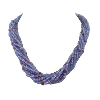 Genuine and Natural Tanzanite and Spinel Faceted Bead Choker Necklace 18K White