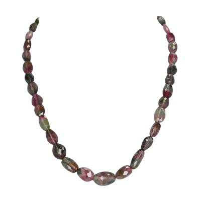 Genuine and Natural Watermelon Tourmaline Larger Tumbled Faceted Beads Necklace