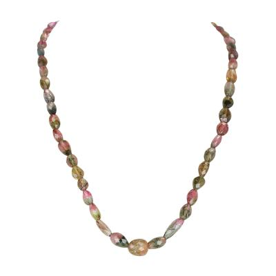 Genuine and Natural Watermelon Tourmaline Tumbled Faceted Beads Necklace