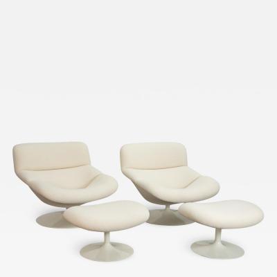 Geoffery Harcourt Artifort F518 Swivel Lounge Chairs