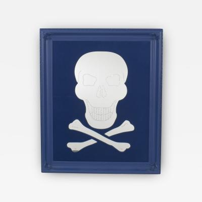 Geoffrey Bradfield Modern Blue Skull and Crossbones Mirror