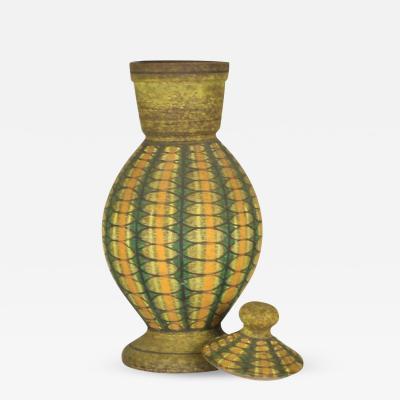 Geometric Decorated Lidded Ceramic Jar by Aldo Londi for Bitossi