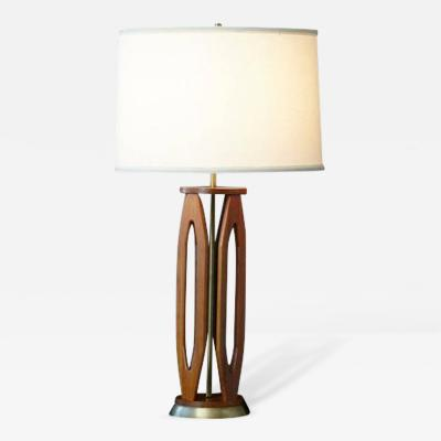 Geometric Teak Table Lamp with Brass Base