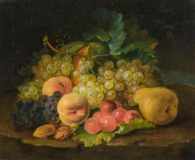 Georg Forster Still Life Grapes Peaches Pear and Nuts