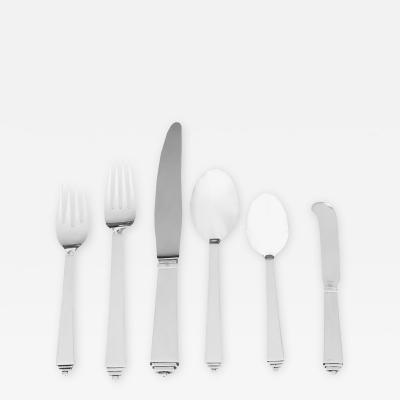 Georg Jensen 6 Piece Service for12 Sterling Pyramid Flatware by Georg Jensen
